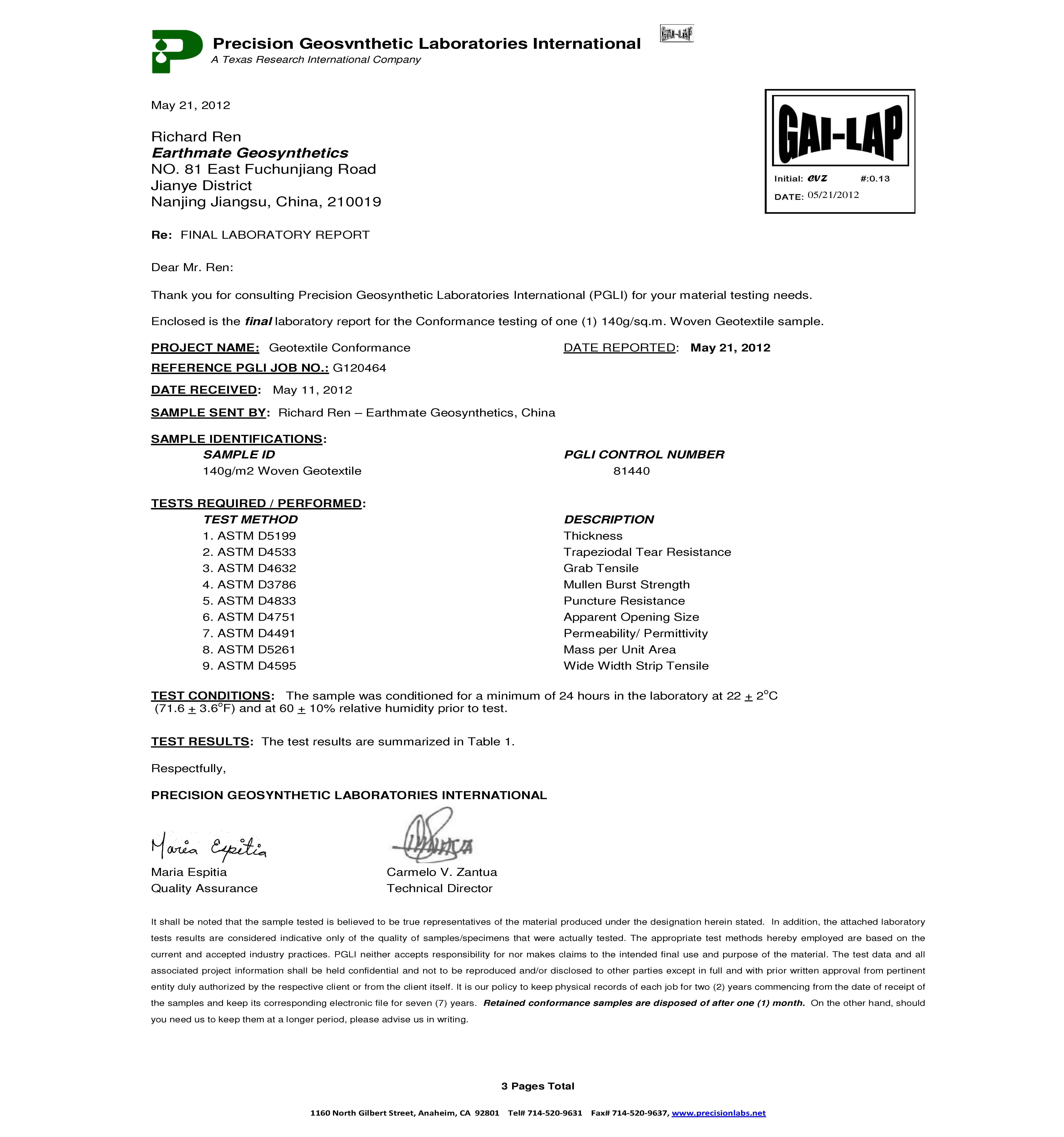 INFORME DE PRUEBA   PGL   BASALFAB PWG140