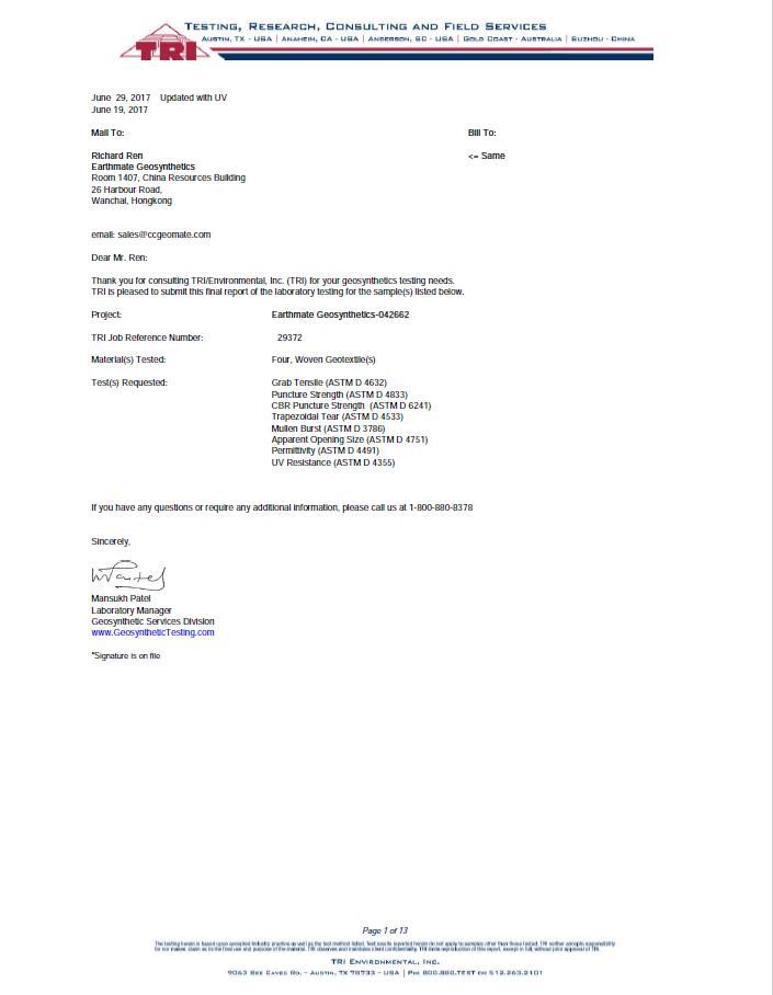 INFORME DE PRUEBA   TRI   BASALFAB PWG200,250,315 & SF100